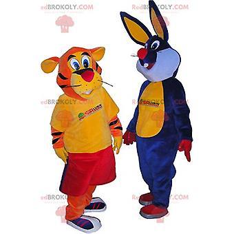 2 Mascot REDBROKOLY.COMs: um tigre laranja e um coelho azul