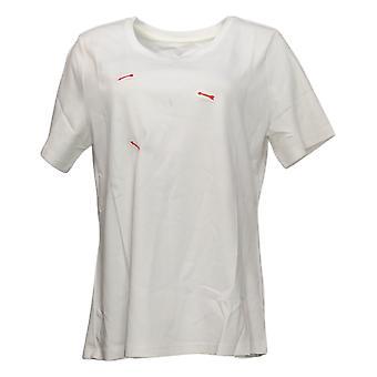 Isaac Mizrahi Live! Women's Top Cotton Scoop Neck T-Shirt Ivory A379429