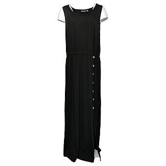 Nina Leonard Robe Maxi Sans Manches Robe avec Taille Élastique Noir 691477