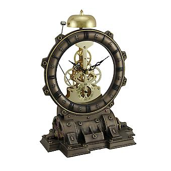 Time's Gate Metallized Steampunk Generator Desktop Striking Clock