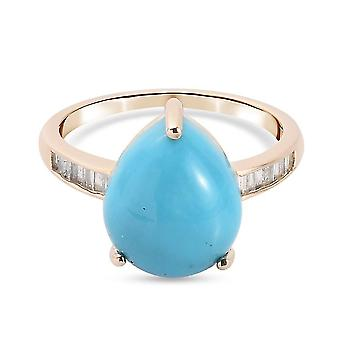 TJC Turquoise Solitaire Ring for Women 9K Yellow Gold White Diamond 4.17ct(P)