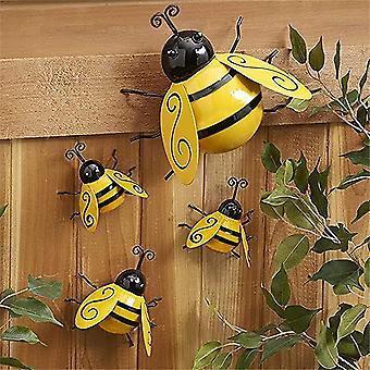 4pcs Décorations de bourdon en métal, Jardin Mur Art Bee 3d Sculpture Ornement