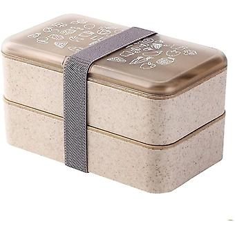 Box Lunch Box 2 Tiers Reusable Cutlery Japanese Style Lunch Boxes
