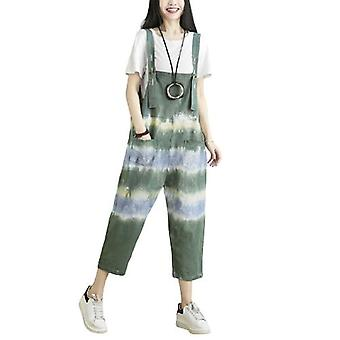 Woman Loose Pants Casual Cotton Overalls