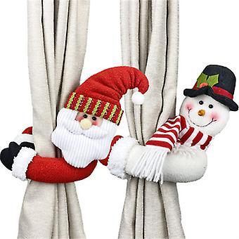 2pcs عيد الميلاد الستار مشبك تيباك سانتا ورجل الثلج