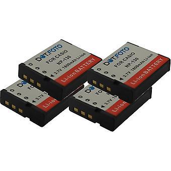 4 x Dot.Foto Casio NP-130, NP-130A Replacement Battery - 3.7v / 1800mAh