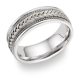 14K Weißgold 7,6 mm geflochten Ehering Ring