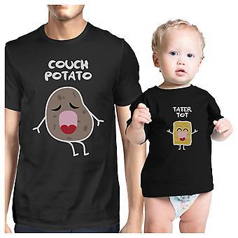 Couch Potato Tater Tot ładny graficzny pasujące trójniki do taty i dziecka