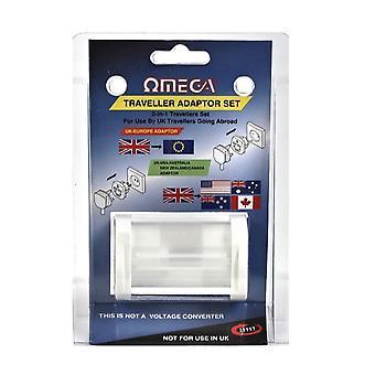Omega 2 in 1 Travel adapter set konvertálása brit 3 PIN világszerte USA Ausztrália Új-Zéland Kanada Europe Sockets