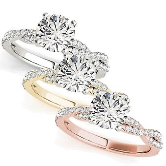 1/2ct Round Diamond Engagement Ring Infinity 14k White, Yellow, Rose Gold