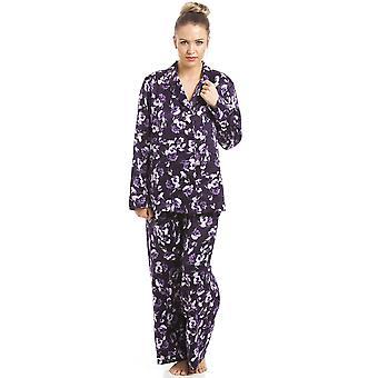 Camille lilla blomster Print lilla Satin pyjamas sæt