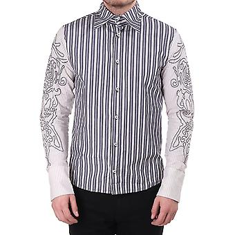 Man Save the Queen Mens Stripe Shirt With Contrast Sleeve