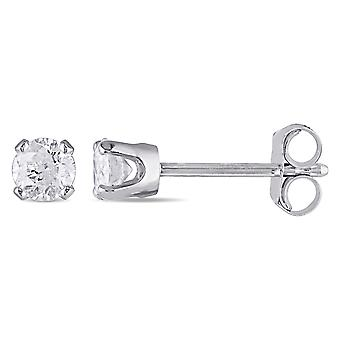 1/3 Carat (ctw Color I-J, Clarity I2-I3) Diamond Solitaire Stud Earrings in 14K White Gold