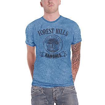 Ramones T camisa Vintage Forest Hills alta insignia oficial para hombre nuevo Burnout azul