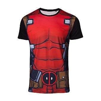 Marvel Comics Deadpool Mens costume Sublimation T-Shirt grand multicolore
