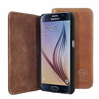 Bugatti BookCover Oslo Echtledertasche für Samsung Galaxy S6 G920 G920F Cognac