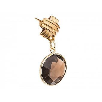 Paar Damen - Ohrringe - 925 Silber Vergoldet - Rauchquarz - Braun - 3 cm