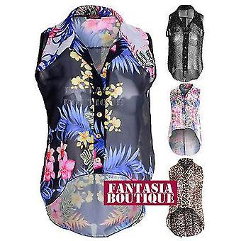 Дамы блузка Leopard цветочные полька точка рукавов рубашки топ Платье