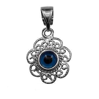 Sterling sølv filigran dobbelt sidet onde øjne vedhæng charme