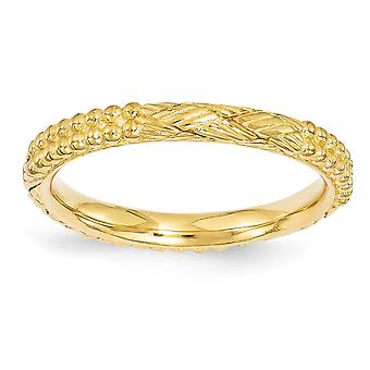 2,5 mm 925 sterling sølv polert stables uttrykk 14k gullbelagt mønstret ring smykker gaver til kvinner - Ring S