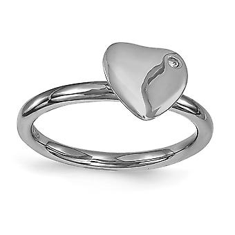 2.25mm 925 Sterling Silver Bezel Polished Ruthenium plating Stackable Expressions Ruthenium plated Love Heart Diamond Ri