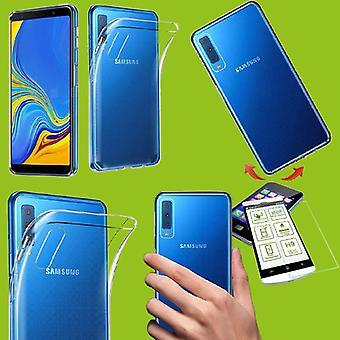 סיליקון מקרה שקוף + 0.26 H9 ממזג זכוכית עבור Samsung Galaxy A7 A750F 2018 מקרה כיסוי לכסות