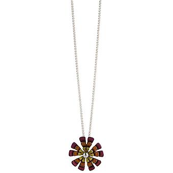 Ti2 Titanium Double Ten Petal Flower Pendant - Brown