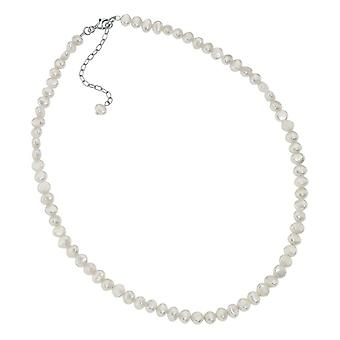 Elements Silver Freshwater Pearl Single Row Necklace - Silver/White