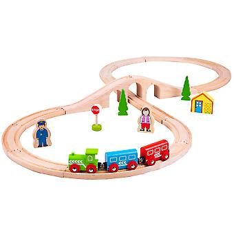 Bigjigs Rail Wooden Figure of Eight Train Set Play Railway Track Kids Child
