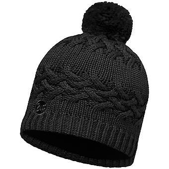 Buff Savva Knitted Bobble Hat in Black Hat