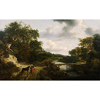 Landscape with a footbridge,Jacob van Ruisdael,60x40cm