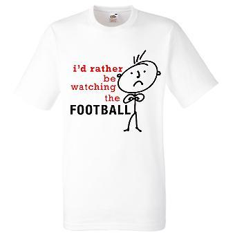 Mens skulle jag snarare att titta på fotbollsmatchen vit Tshirt
