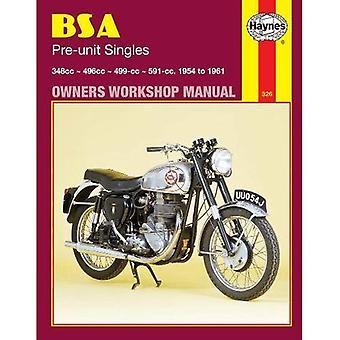 B. S. A. pre unit Singles atelier manuel (moto manuels)