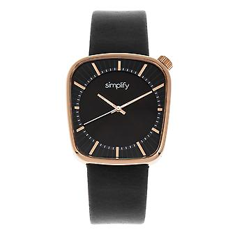 Simplify The 6800 Leather-Band Watch - Rose Gold/Black