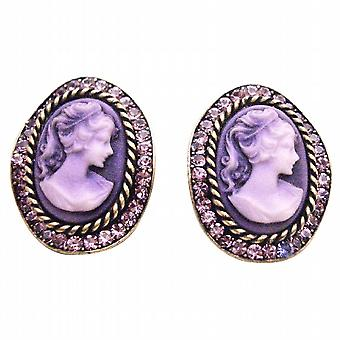 Amethyst Crystals Cameo Antique Purple Framed Cameo Portrait Earrings