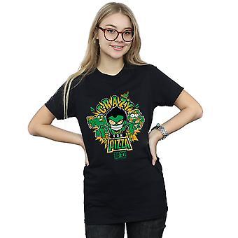 DC Comics Women's Teen Titans Go Crazy For Pizza Boyfriend Fit T-Shirt