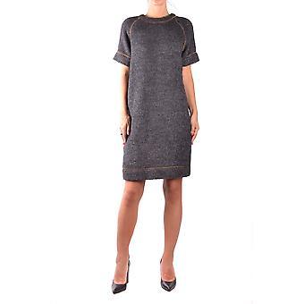 Brunello Cucinelli Ezbc002005 Women's Grey Wool Dress