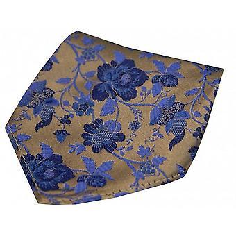 David Van Hagen Floral Pattern Silk Handkerchief - Bronze/Blue