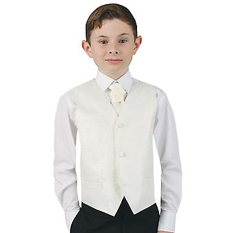Dobell Boys Ivory Paisley Waistcoat Regular Fit Wedding