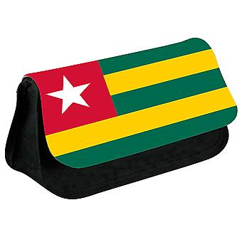 Togo Flag Printed Design Pencil Case for Stationary/Cosmetic - 0177 (Black) by i-Tronixs