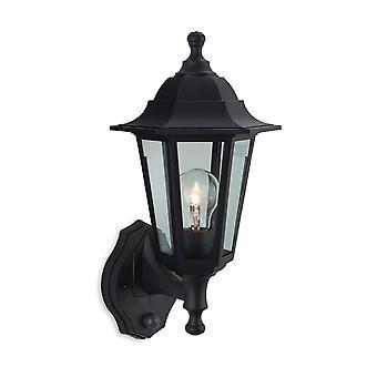 Firstlight-1 lys udendørs Wall Lantern-uplight med PIR Black resin IP44-8401BK
