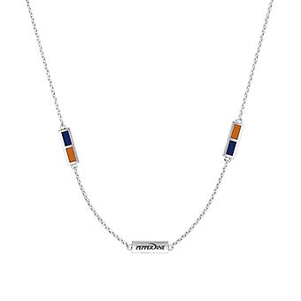 Pepperdine University Sterling Silver Engraved Triple Station Necklace In Blue & Orange