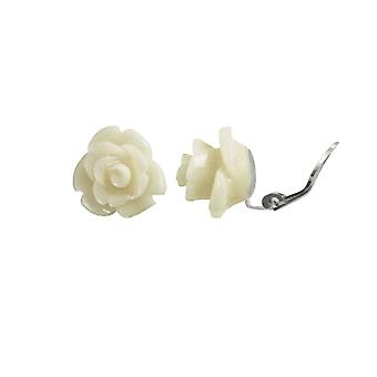 Eternal Collection Rosetta White Coral Flower Silver Tone Stud Clip On Earrings