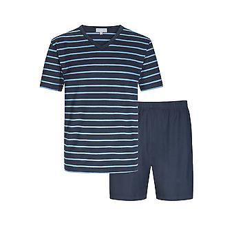 Mey Men 11271-668 Herren Yacht Blau gestreift ecotton Pyjama Short Pyjama Set