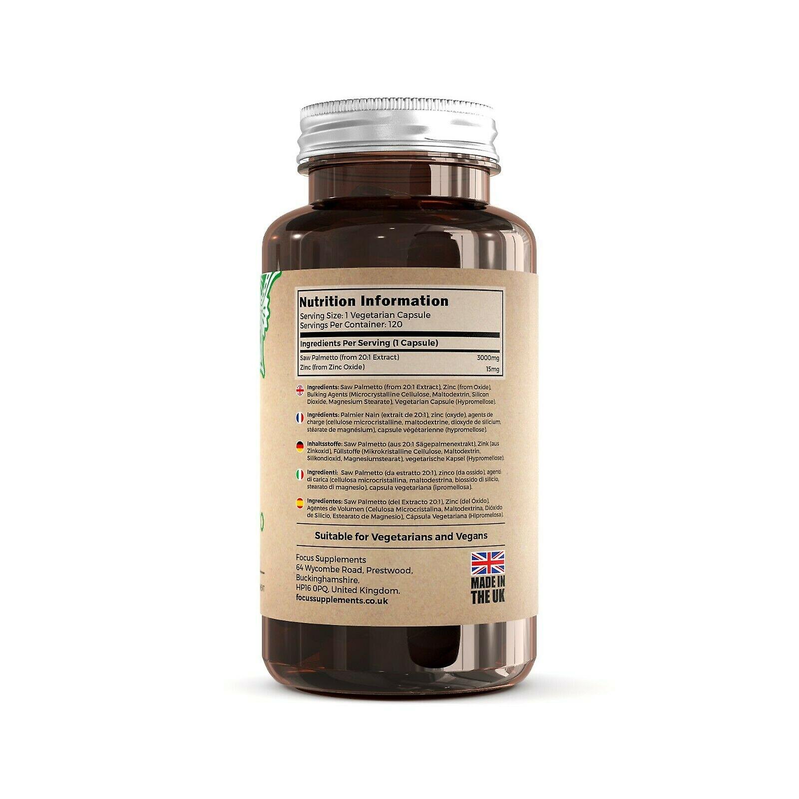 Focus Supplements Saw Palmetto with Zinc (3000mg) Capsules