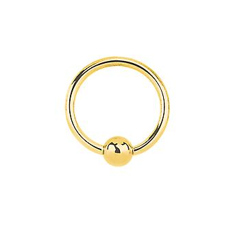 Jewelco London Unisex Solid 9ct Yellow Gold Ball Closure 1.1mm Gauge Hoop Body Ring Piercing, 10mm