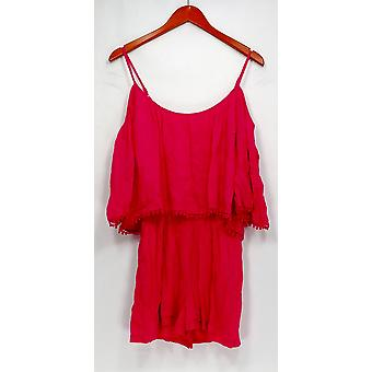 Lush Jumpsuits Short Sleeve Cold Shoulder Romper Style Rose