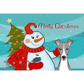 Carolines schatten BB1856PLMT sneeuwpop met Italiaanse windhond stof placemat