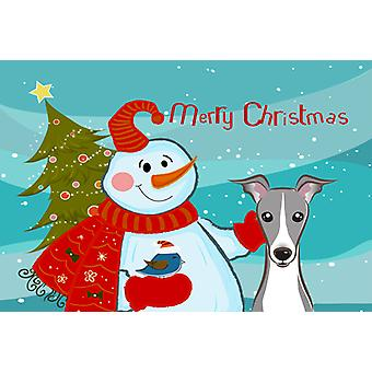 Carolines Treasures  BB1856PLMT Snowman with Italian Greyhound Fabric Placemat
