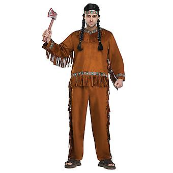 Native American Indian Noble Warrior Cherokee Western Men Costume One Size